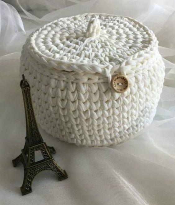 cesto de crochê - cesto de crochê branco