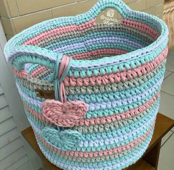 cesto de crochê - cesto de crochê colorido