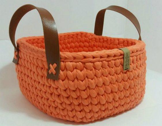 cesto de crochê - cesto de crochê com alças marrons