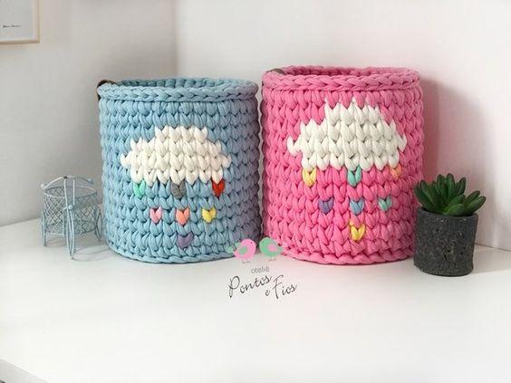 cesto de crochê - cesto de crochê com o tema da chuva de benção