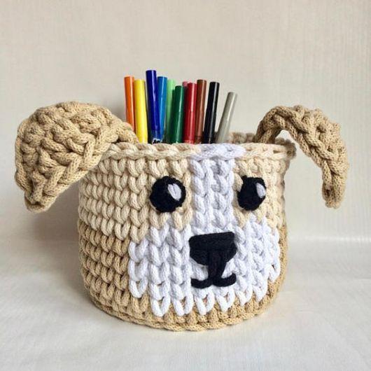 cesto de crochê - cesto de crochê de cachorro