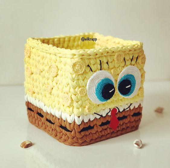 cesto de crochê - cesto de crochê do bob esponja