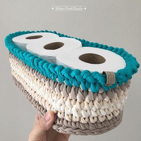 cesto de crochê - cesto de crochê para papel higiênico