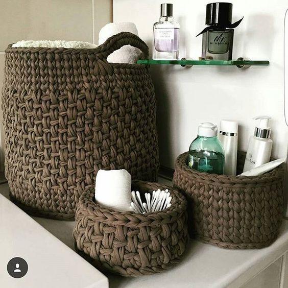 cesto de crochê - cesto de crochê para produtos de higiene pessoal