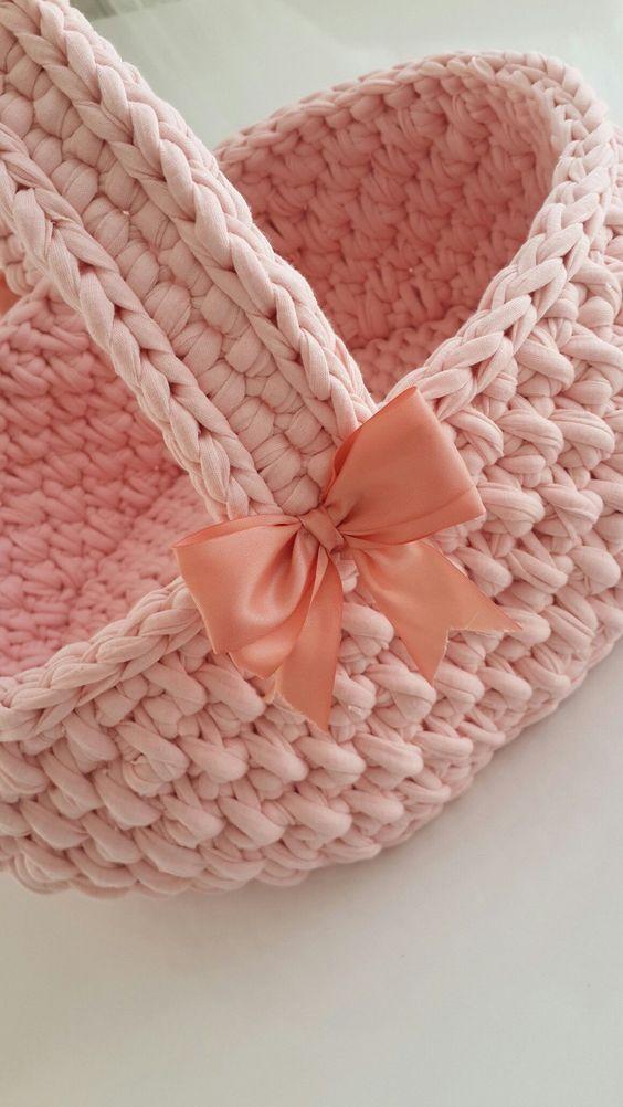 cesto de crochê - cesto de crochê rosa com alça
