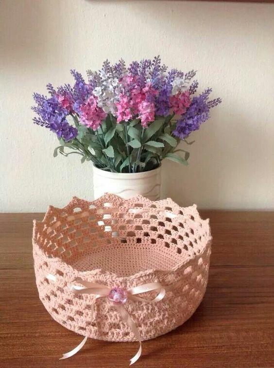 cesto de crochê - cesto de crochê simples