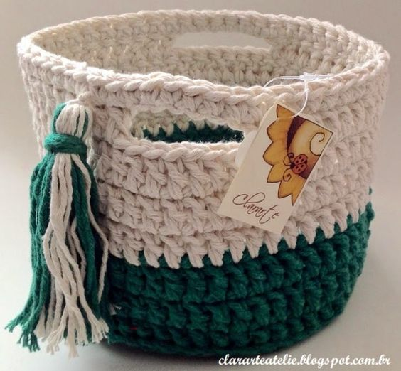 cesto de crochê - cesto de crochê verde e branco