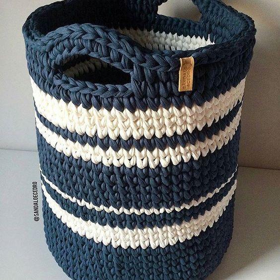 cesto de crochê - cesto de roupas de crochê