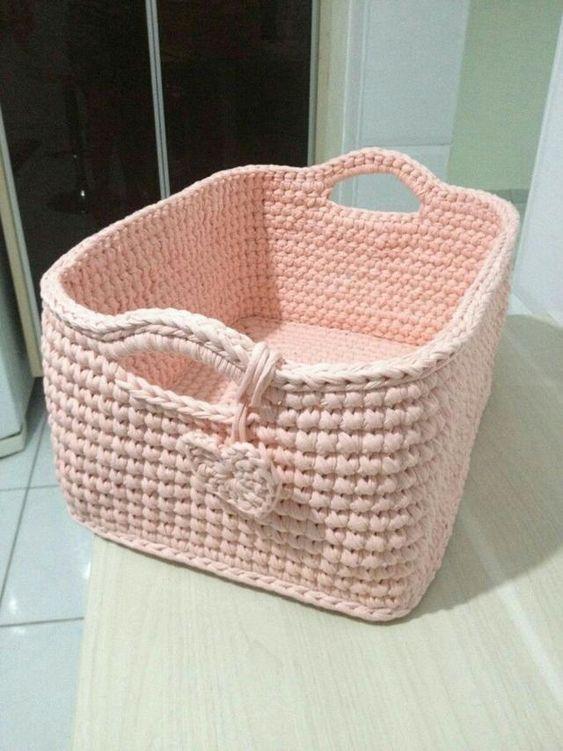 cesto de crochê - cesto rosa grande