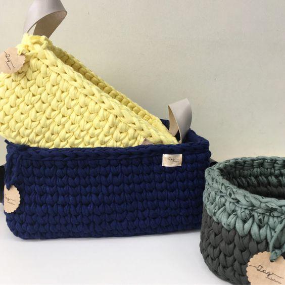cesto de crochê - cestos de crochê coloridos