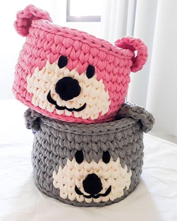 cesto de crochê - cestos de crochê de ursos