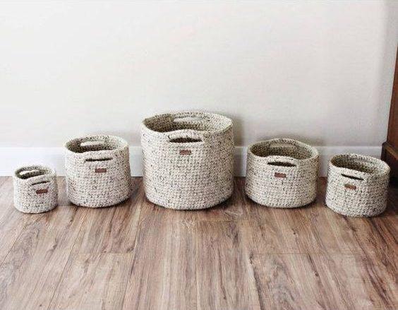 cesto de crochê - cestos de crochê simples