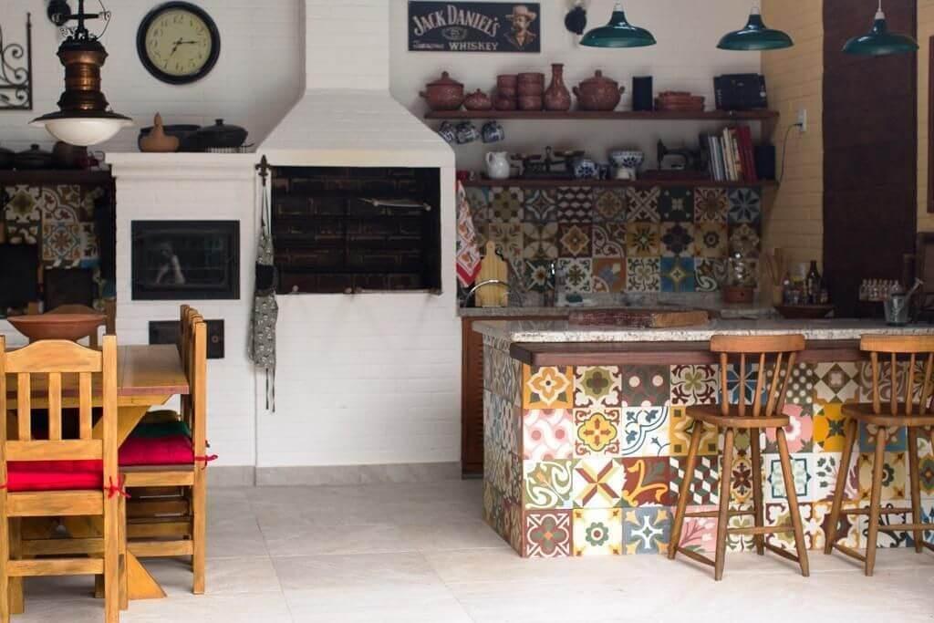 churrasqueira de tijolo - área de churrasqueira branca