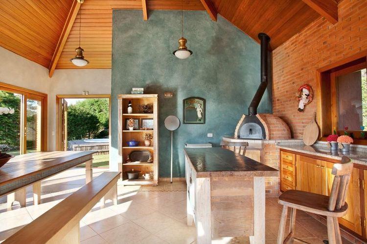 churrasqueira de tijolo - área gourmet conta com churrasqueira e forno a lenha