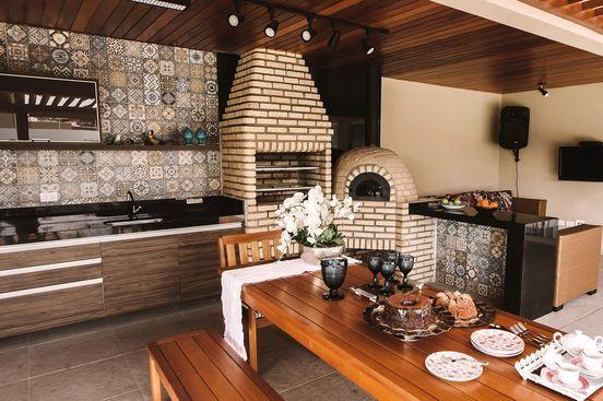 churrasqueira de tijolo - cozinha gourmet com churrasqueira de tijolinhos