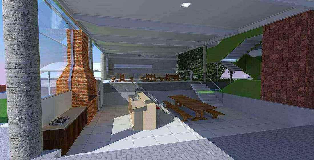 churrasqueira de tijolo - projeto de área de churrasqueira