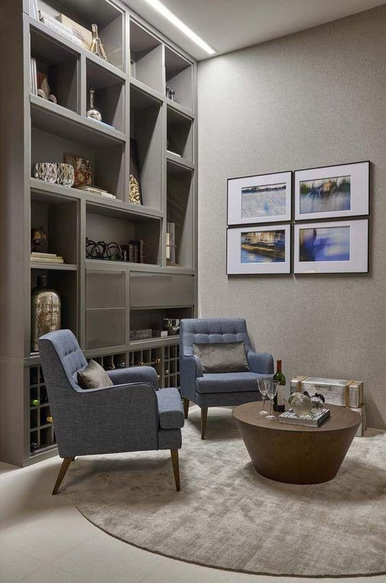 cor fendi - escritório com estante fendi
