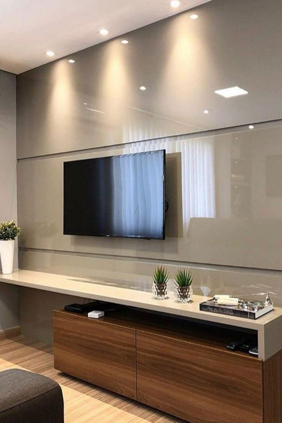 cor fendi - sala com painel de tv fendi