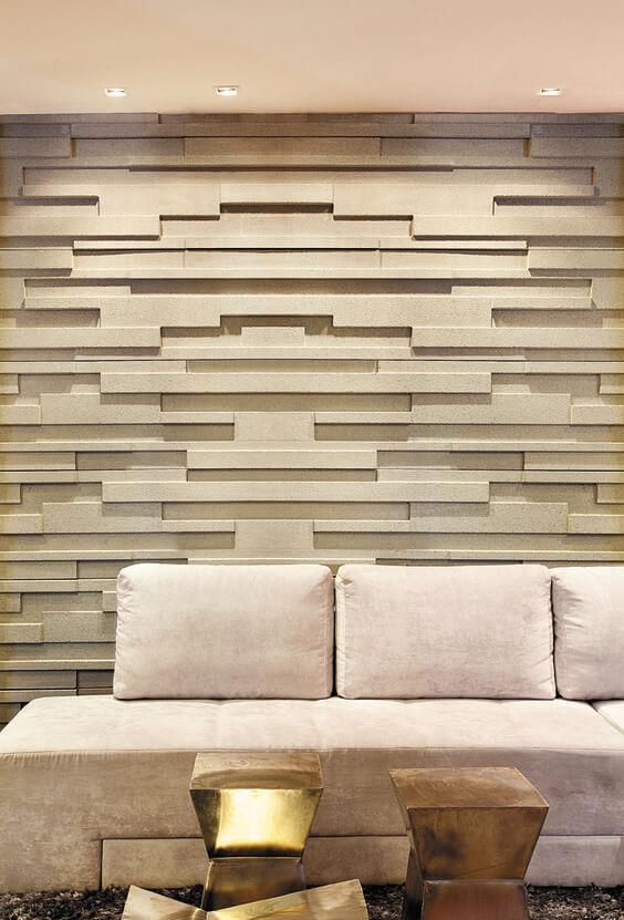 cor fendi - sala com parede de placa de gesso 3d fendi