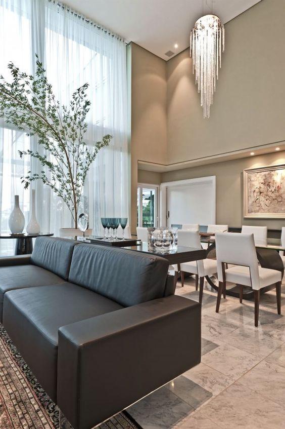 cor fendi - sala de estar e jantar com parede fendi