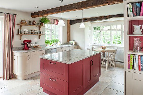 cor marsala na cozinha