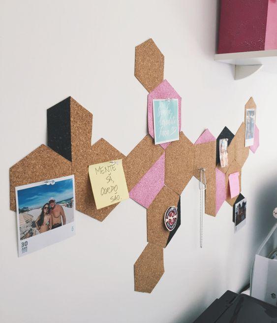 cortiça - cortiça hexagonal em parede