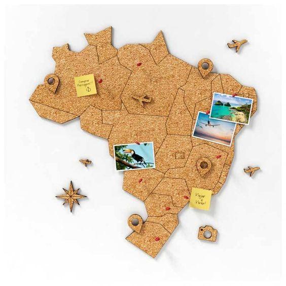 cortiça - mapa do Brasil em cortiça