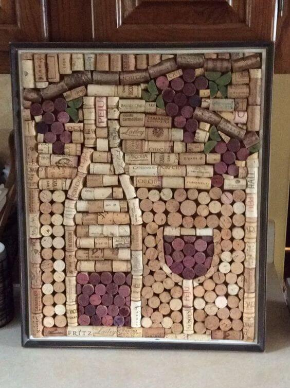 cortiça - quadro de vinho com rolha de cortiça