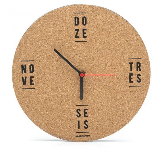 cortiça - relógio artesanal de cortiça