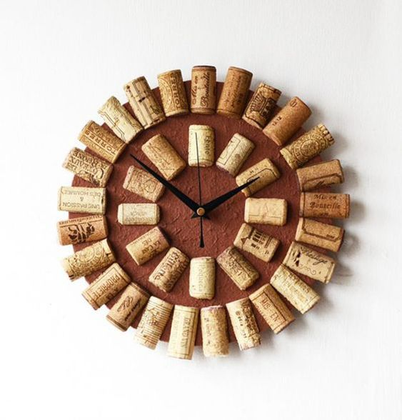cortiça - relógio de rolhas de cortiça