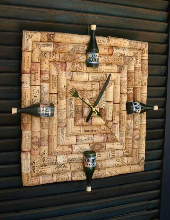 cortiça - relógio decorativo de cortiça
