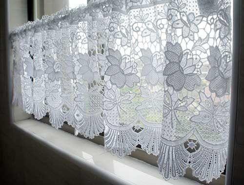 cortina de renda - cortina branca pequena