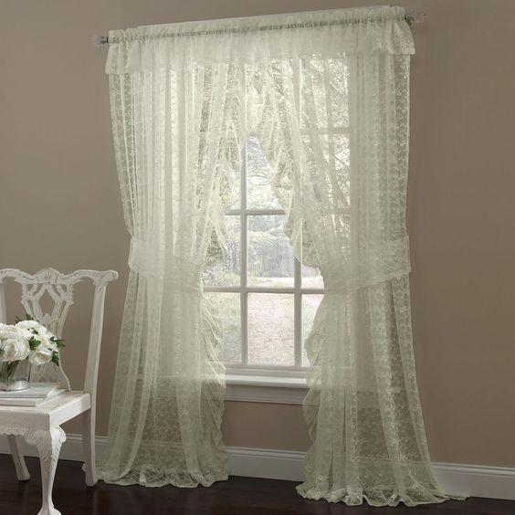 cortina de renda - cortina de renda amarelada