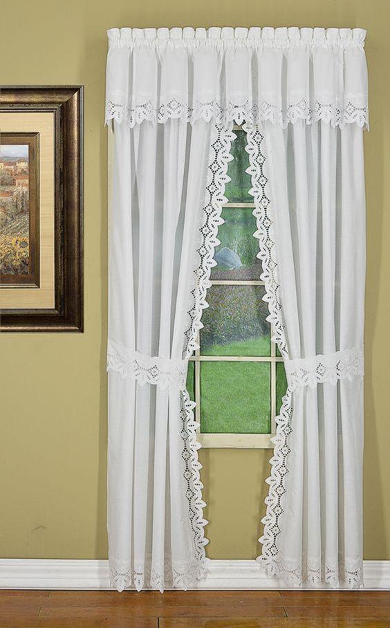 cortina de renda - cortina de renda branca para sala de estar