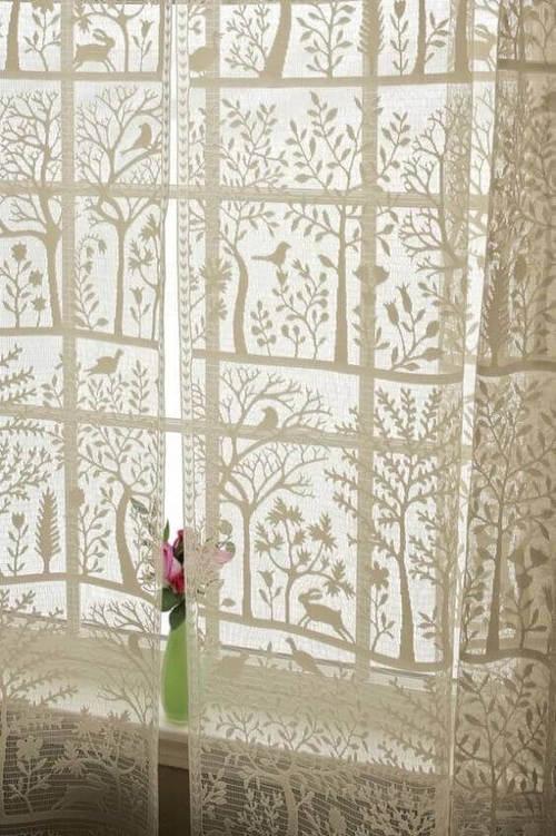 cortina de renda - cortina de renda com detalhes desenhados