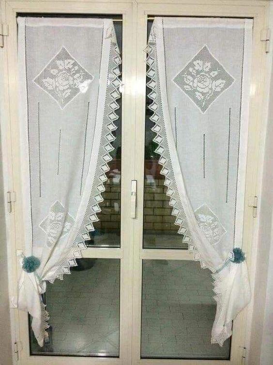 cortina de renda - cortina de renda para portas