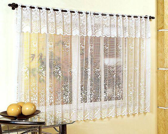 cortina de renda - cortina de renda transparente decorada