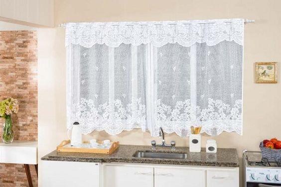 cortina de renda - cortina para cozinha