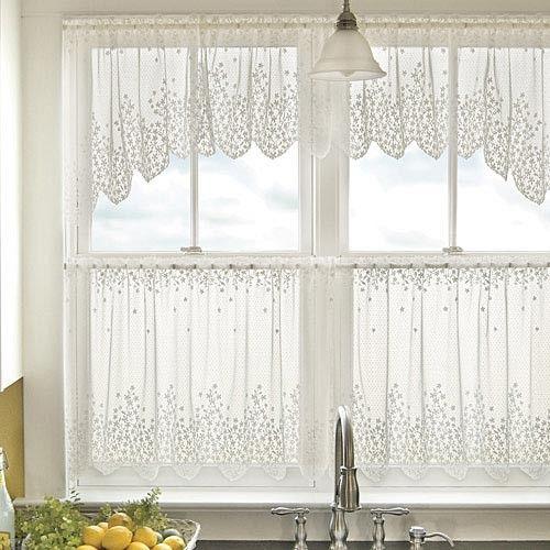 cortina de renda - cortina para cozinha branca de renda