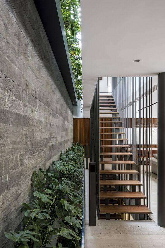costela de adão - canteiro de monstera ao ado de escada