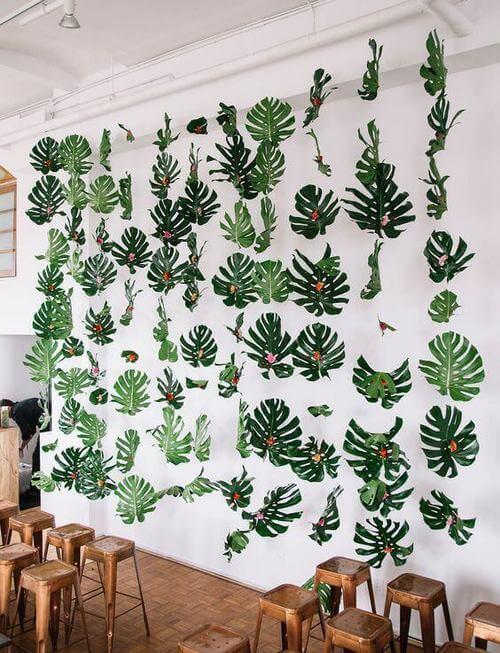 costela de adão - cortinas de folhas de monstera