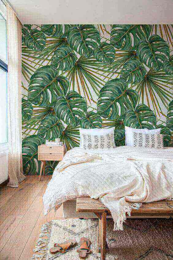 costela de adão - parede pintada com folhas de monstera