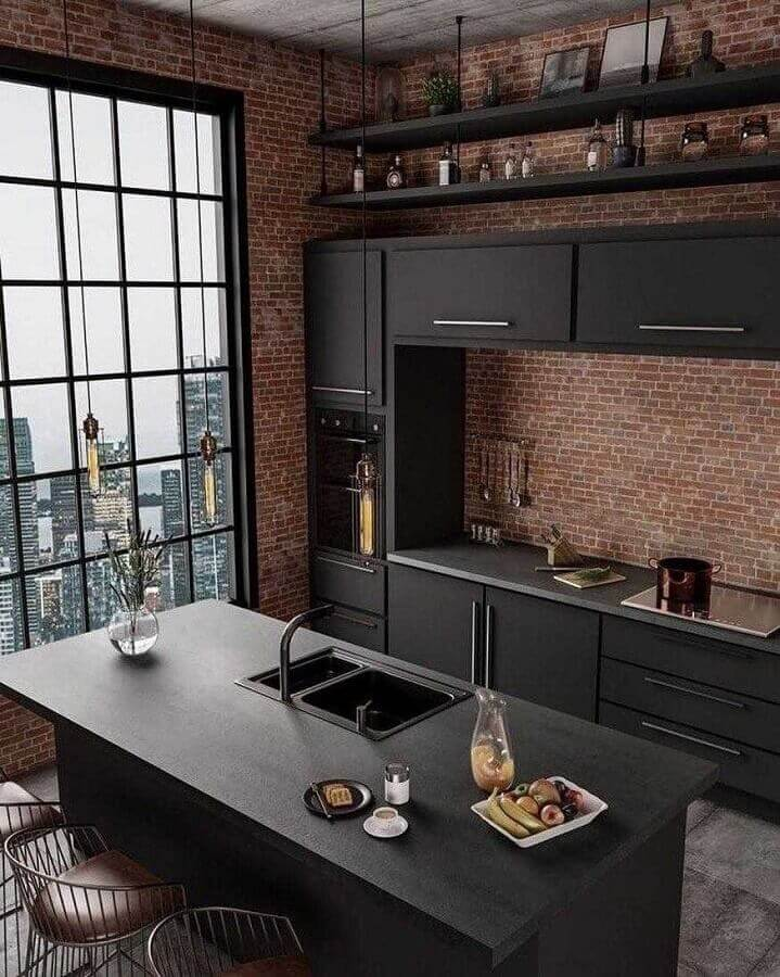 cozinha estilo industrial decorada com gabinete de cozinha sem pia preto Foto Foto Tobi Makinde
