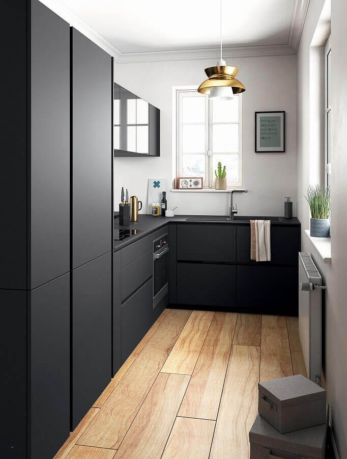 cozinha moderna toda preta com forno elétrico embutir Foto Home Ideas
