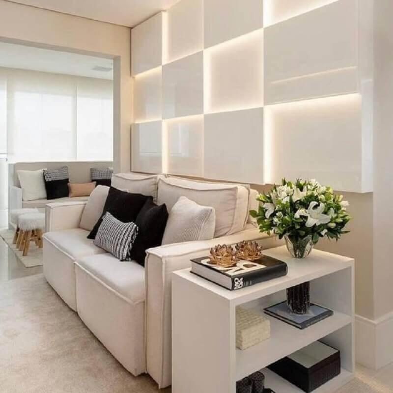 decoração clean com sofá branco e iluminação de led Foto Dicas Decor