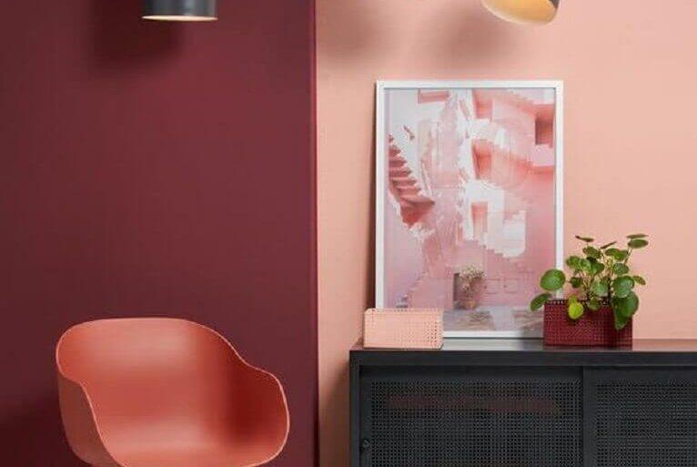 decoração com paleta de cor marsala para sala moderna Foto Pinterest