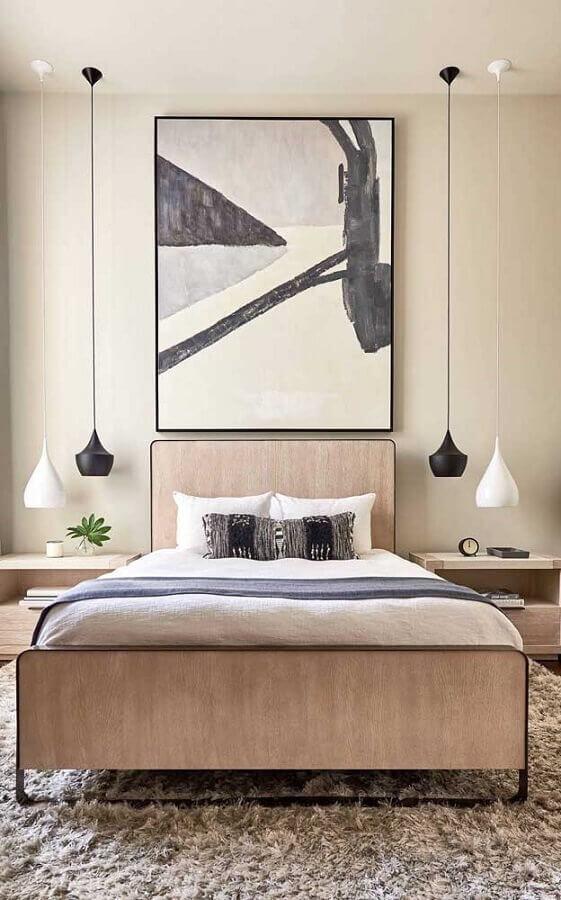 decoração com pendente para quarto preto e branco Foto Webcomunica