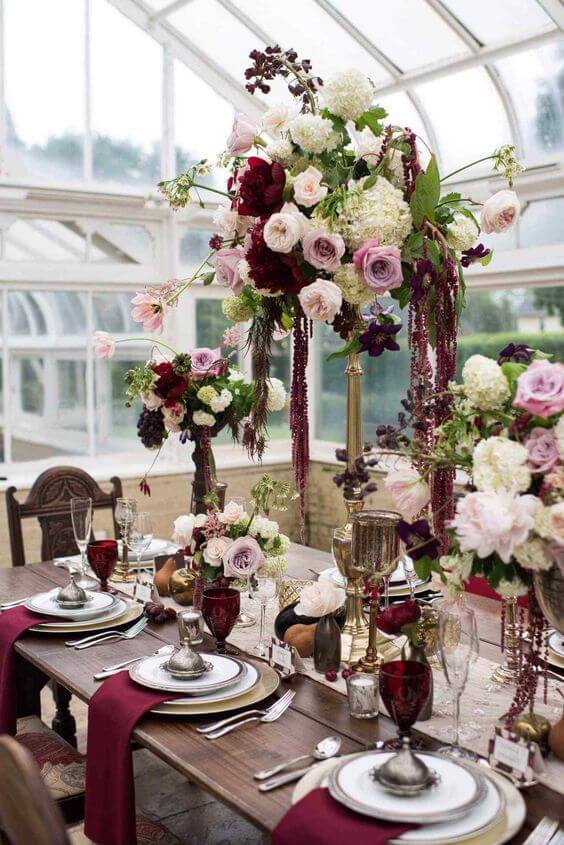 decoração de casamento na cor marsala