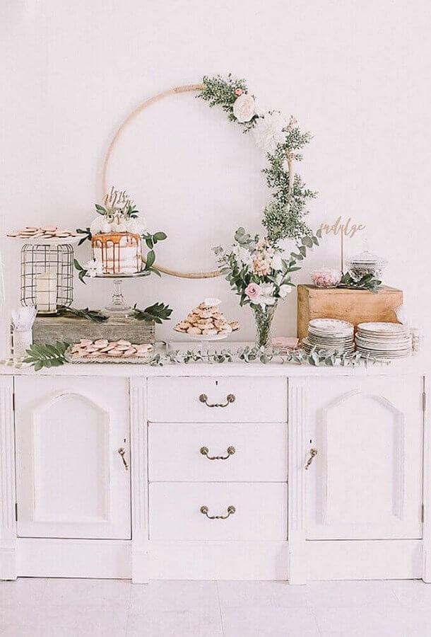 decoração de chá de fralda com estilo minimalista  Foto Bird of Balance