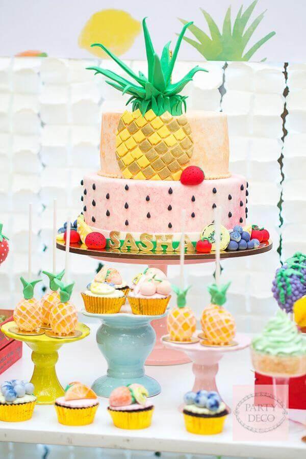 decoração de mesa de guloseimas pra festa tropical Foto Pinterest